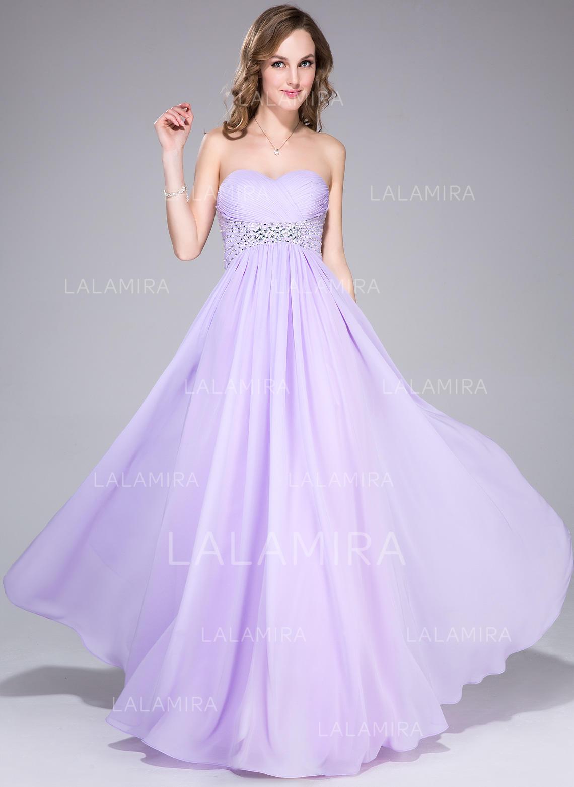 Glamorous Empire Chiffon Floor-Length Sleeveless Prom Dresses