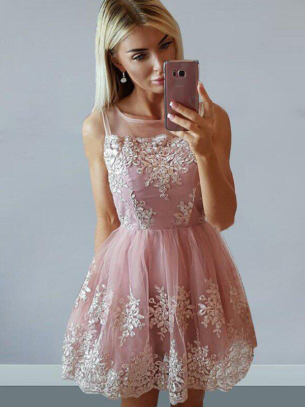 a32ddc737d86 A-Line/Princess Short/Mini Homecoming Dresses Square Neckline Tulle  Sleeveless (022212435. Loading zoom