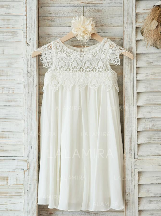 33bc8686a3c0 Luxurious Scoop Neck A-Line/Princess Flower Girl Dresses Knee-length  Chiffon/. Loading zoom
