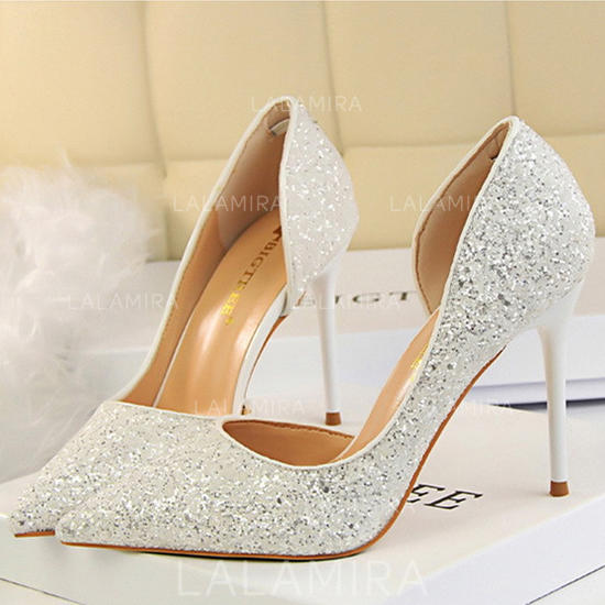 Women's Closed Toe Pumps Stiletto Heel Sparkling Glitter