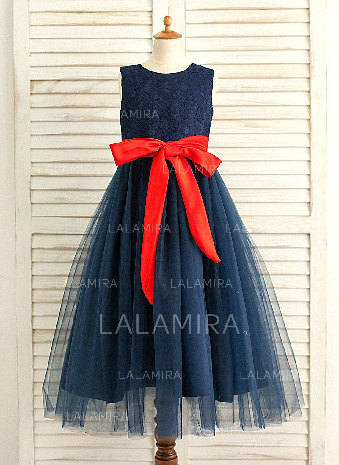 b02e71ba0a8 A-Line Princess Floor-length Flower Girl Dress - Satin Tulle Sleeveless. Loading  zoom