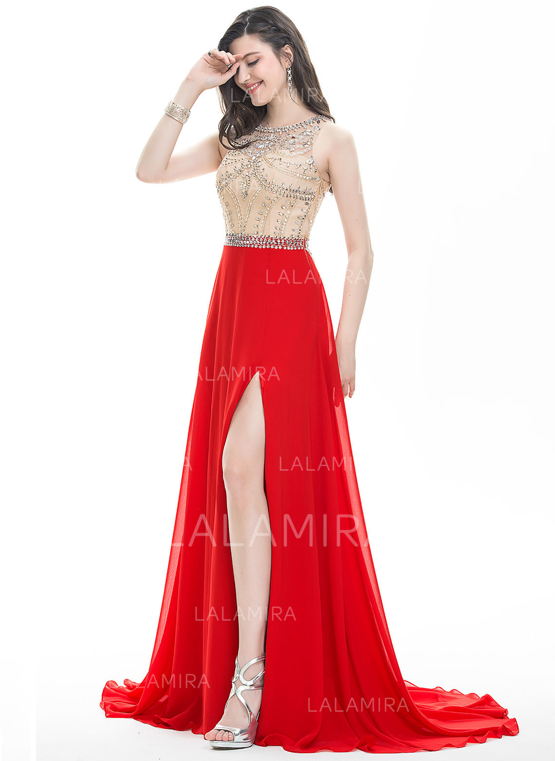 chiffon regular straps scoop neck sleeveless with prom dresses
