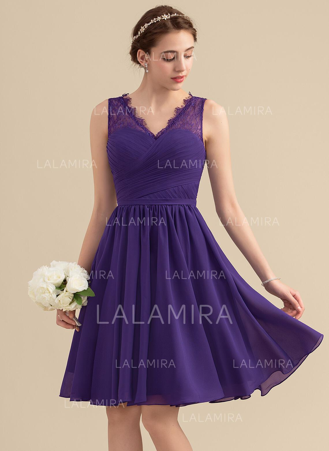 5db5166ce0619 A-Line/Princess V-neck Knee-Length Chiffon Lace Homecoming Dress With.  Loading zoom