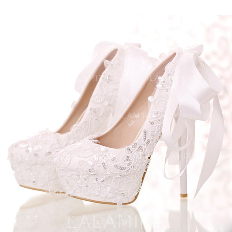 81f43b4ca5 Women's Closed Toe Platform Pumps Stiletto Heel Leatherette With Bowknot  Sequin Wedding Shoes (047206942). Loading zoom