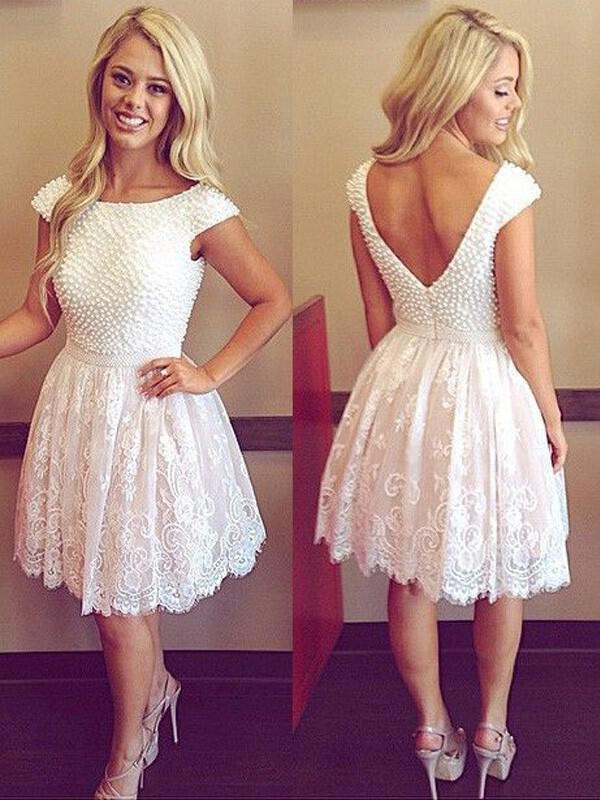 0b2f9975d63 A-Line Princess Tulle Lace Cocktail Dresses Beading Scoop Neck Short  Sleeves Knee-. Loading zoom