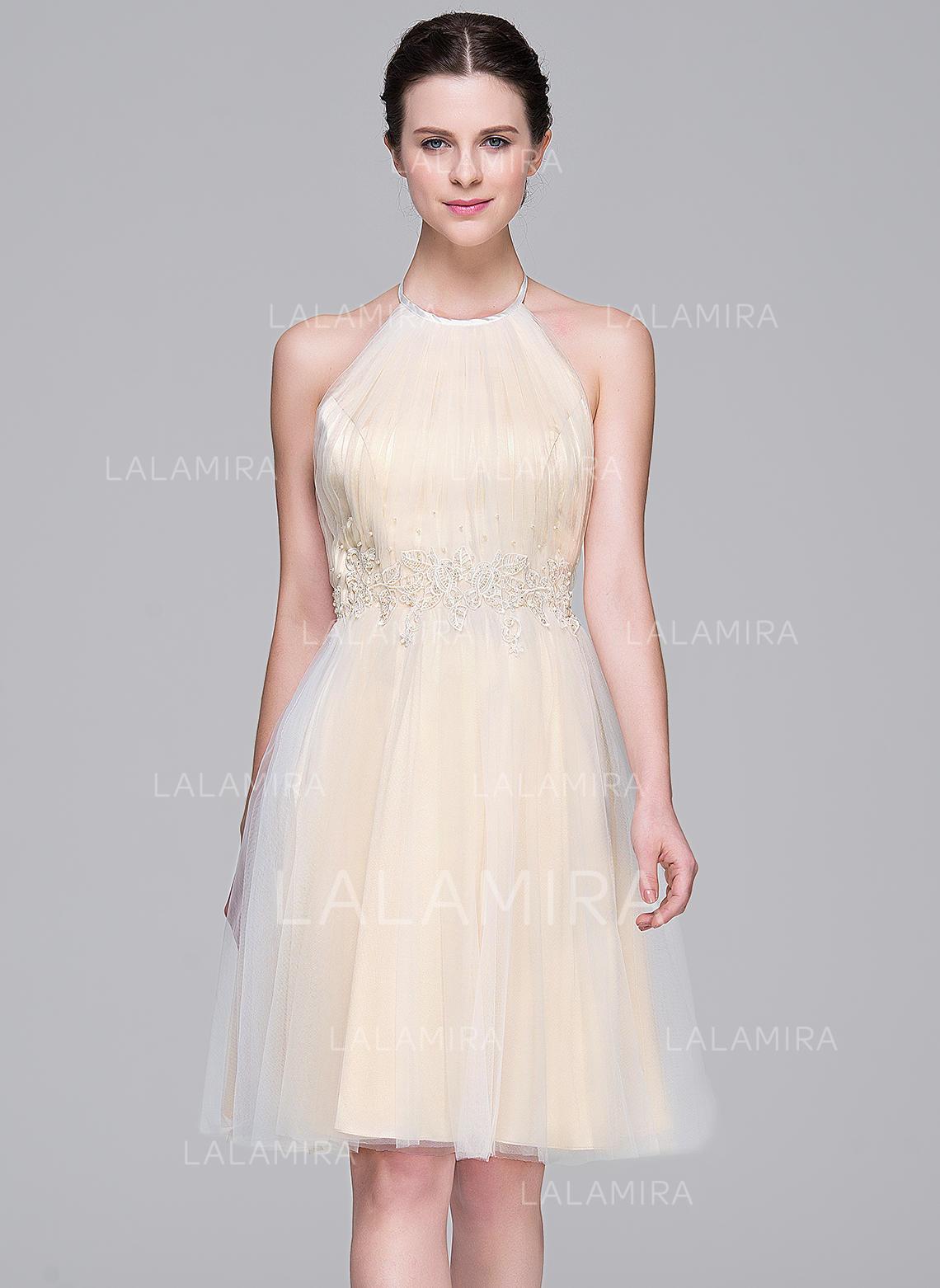 A-Line/Princess Halter Knee-Length Tulle Wedding Dress With Ruffle ...
