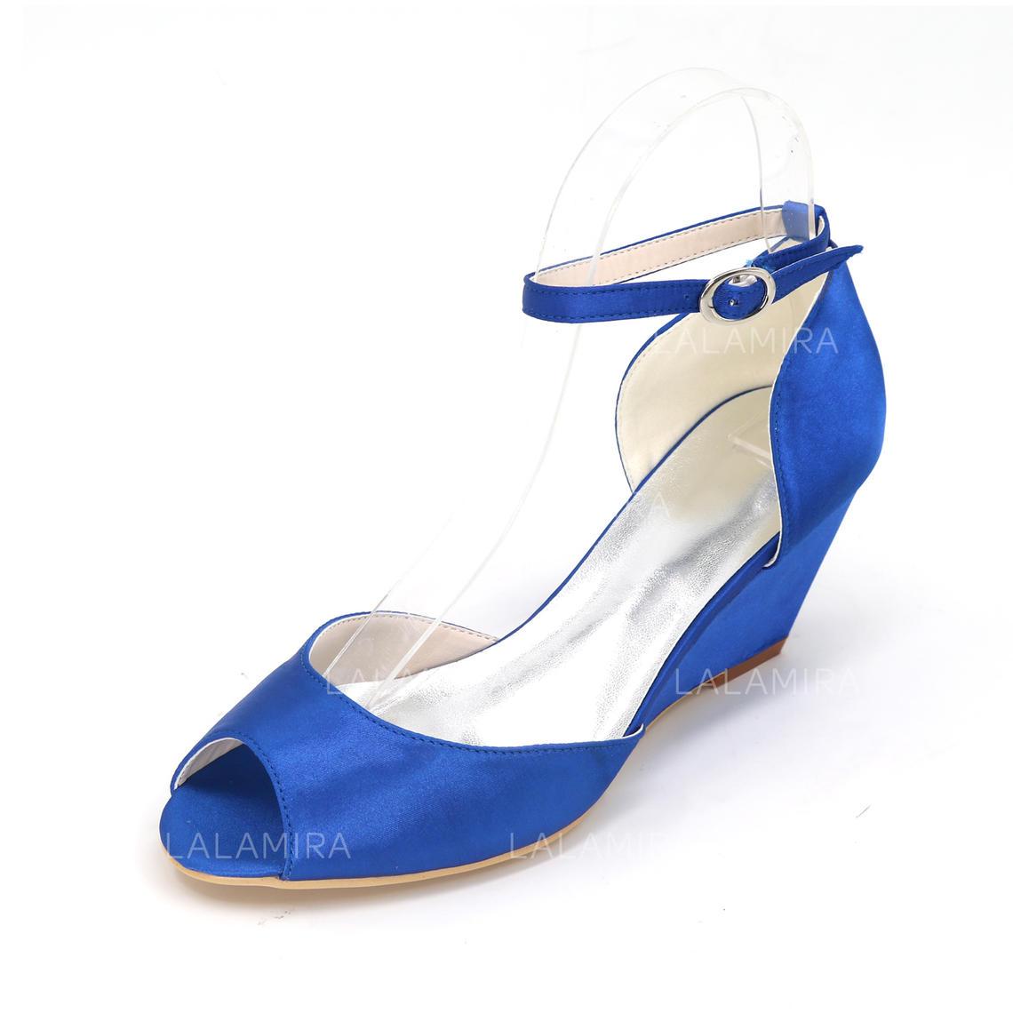 9d6df8a92eae84 Femmes À bout ouvert Escarpins Compensée Talon compensé Satiné avec Boucle Chaussures  de mariage (047096610. Loading zoom
