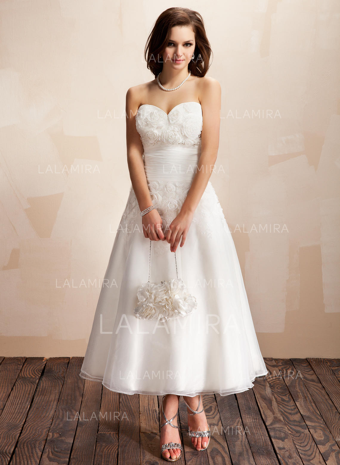 A-Line/Princess Ankle-Length Wedding Dresses With Ruffle Lace Flower ...