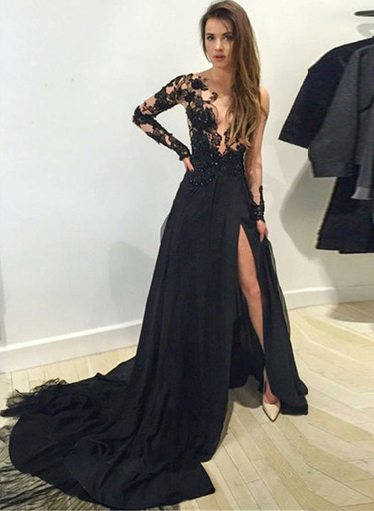 evening dresses with train