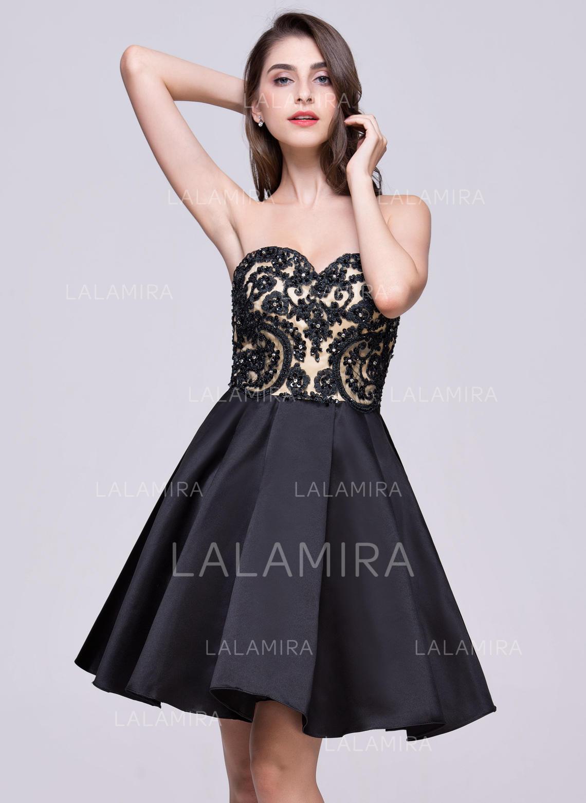 d257f7ac326 Delicate Satin Lace Homecoming Dresses A-Line Princess Short Mini Sweetheart  Sleeveless (. Loading zoom