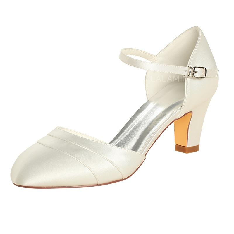 70b7c2040ca Women s Closed Toe Pumps Chunky Heel Silk Like Satin No Wedding Shoes  (047206515). Loading zoom