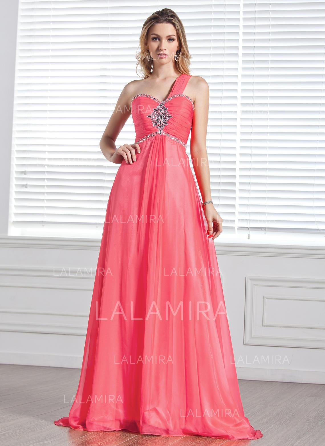 a-line/princess sleeveless ruffle beading chiffon prom dresses