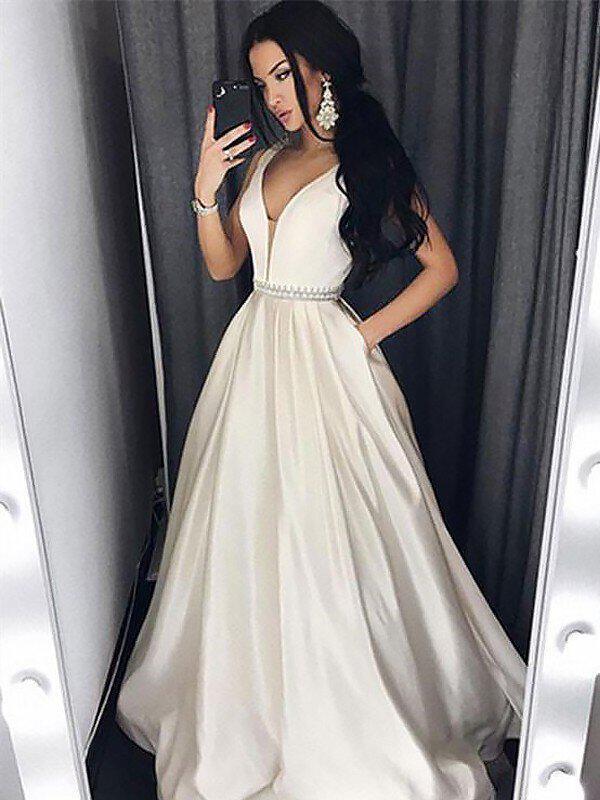 9491585e34b A-Line/Princess Prom Dresses 2019 New Floor-Length V-neck Sleeveless.  Loading zoom