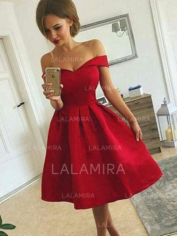 7dfe5a52a07 A-Line Princess Knee-Length Homecoming Dresses Off-the-Shoulder Satin.  Loading zoom