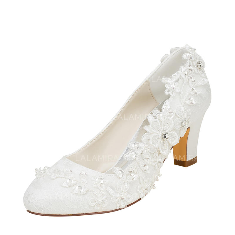 6b07b08d39e Women s Pumps Chunky Heel Silk Like Satin With Stitching Lace Flower Crystal  Pearl Wedding Shoes (. Loading zoom