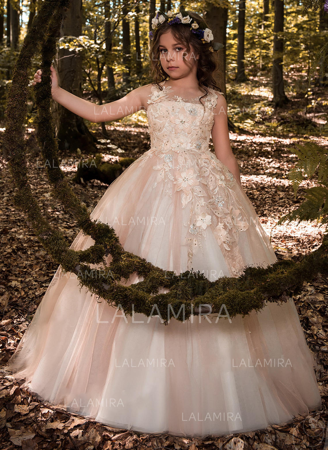 Ball Gown Scoop Neck Floor-length With Beading/Flower(s) Tulle/Lace ...