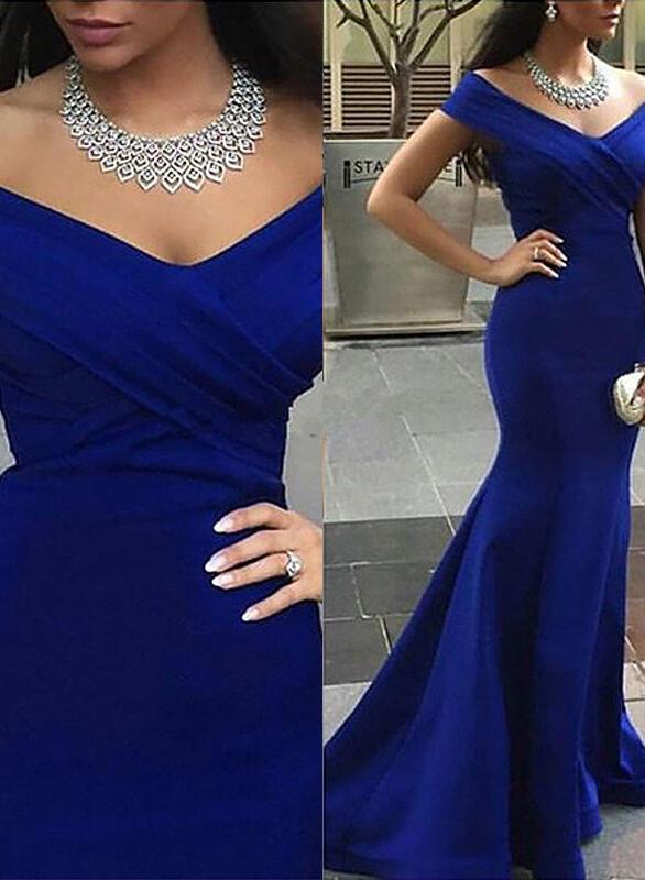 regular straps off-the-shoulder general plus satin trumpet/mermaid prom dresses