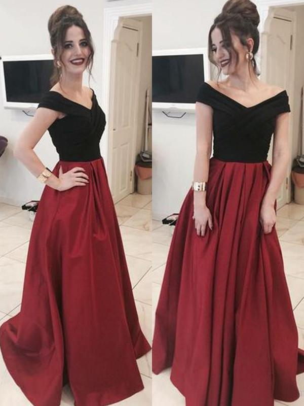 4fe11b80899a A-Line/Princess Satin Prom Dresses Magnificent Floor-Length Off-the-.  Loading zoom