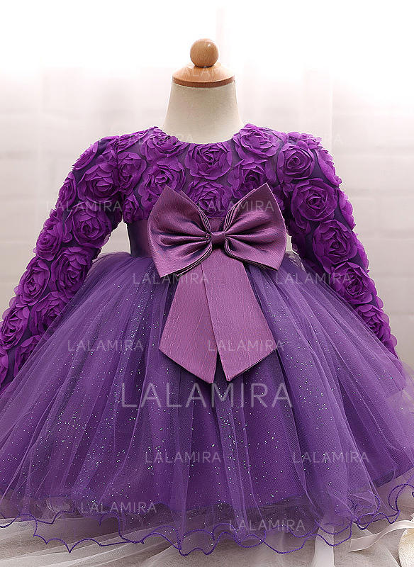 b43f45974 Tulle Scoop Neck Bow(s) Baby Girl's Christening Gowns With Long Sleeves  (2001218006. Loading zoom