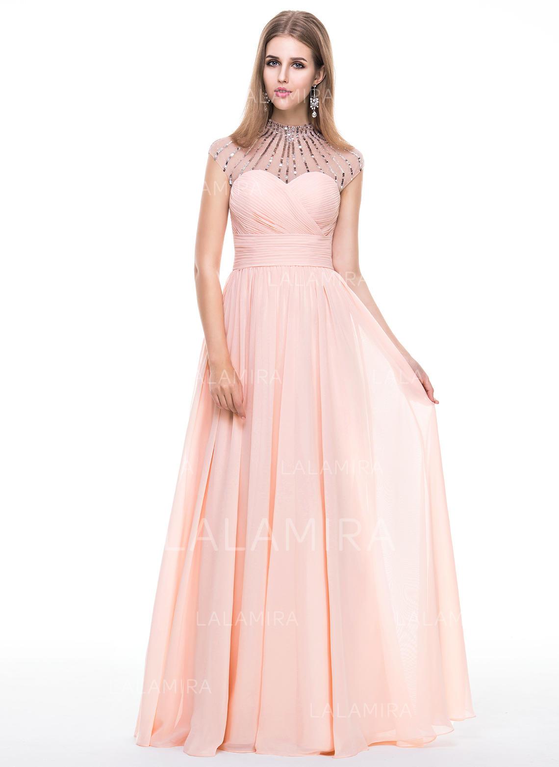 A-Line Princess Prom Dresses Delicate Floor-Length Scoop Neck Sleeveless  (018056787. Loading zoom 5b4154d50
