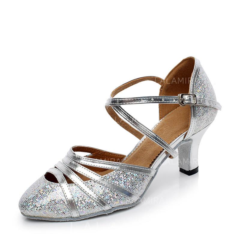 ef99743daf12 Women s Ballroom Heels Pumps Sparkling Glitter With Ankle Strap Dance Shoes  (053181614). Loading zoom