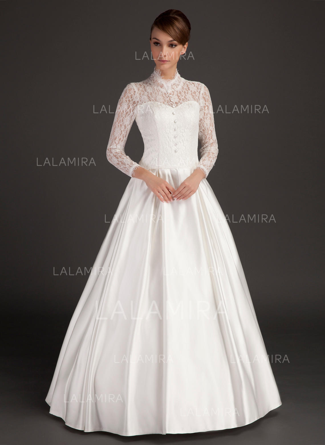 A-Line/Princess High Neck Floor-Length Satin Wedding Dress ...