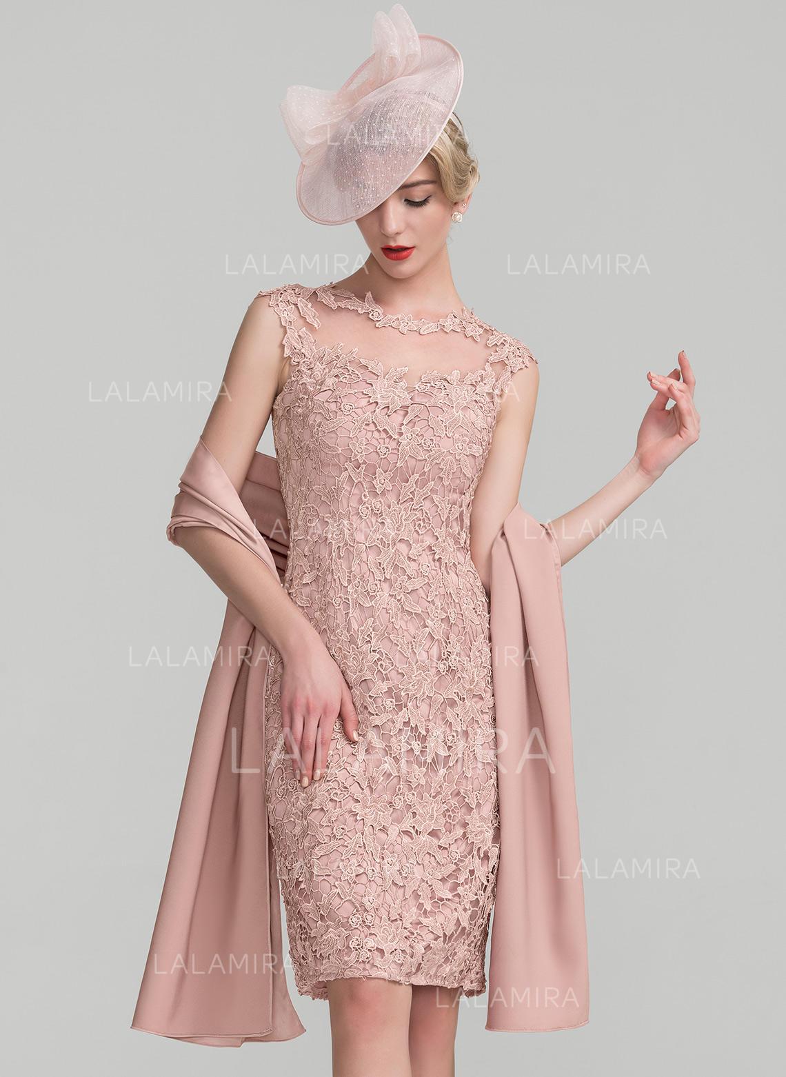 d4146391 Sheath/Column Scoop Neck Knee-Length Lace Cocktail Dress (016174114).  Loading zoom