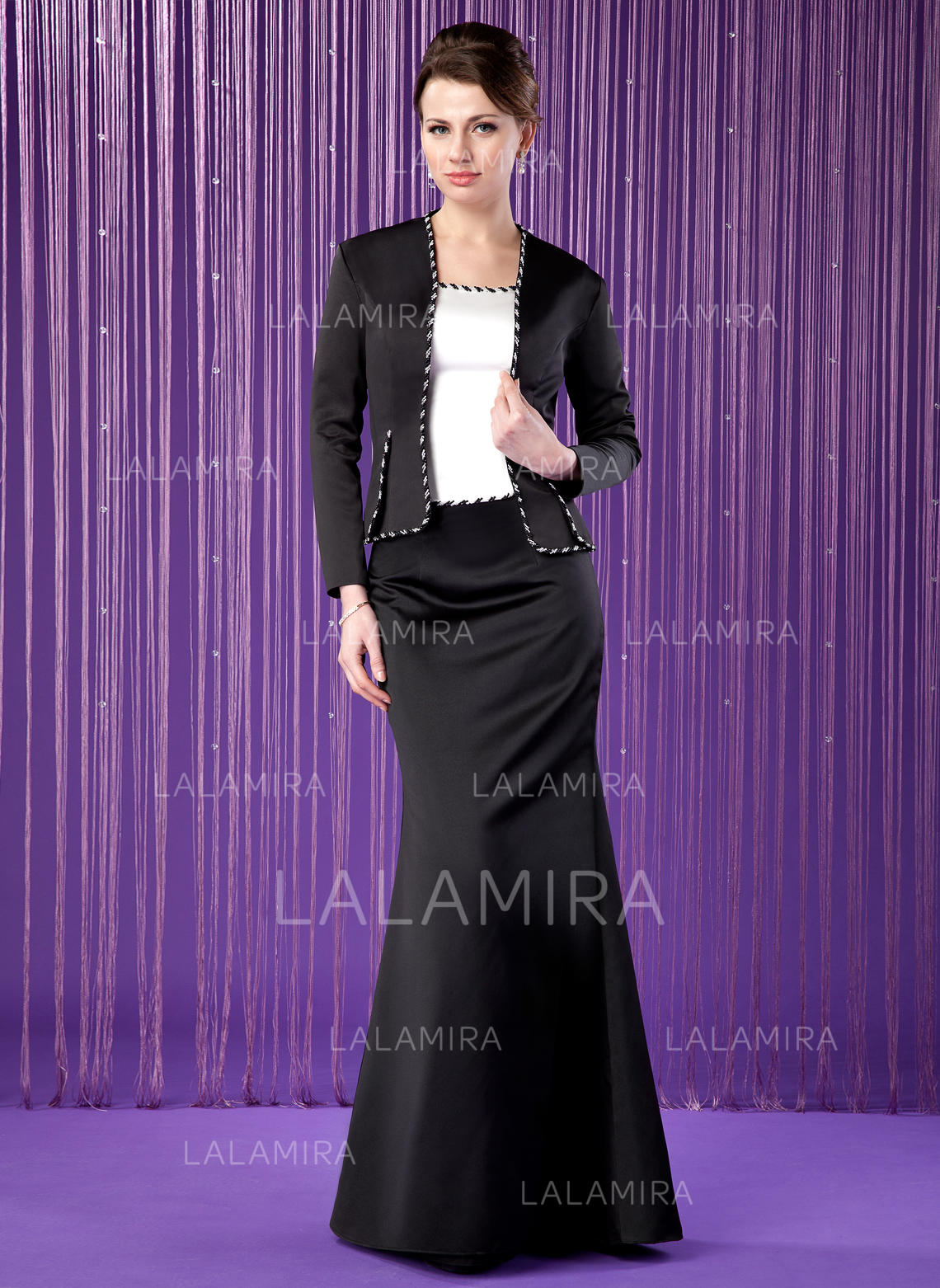 3371a22002e Trumpet Mermaid Satin Short Sleeves Scoop Neck Floor-Length Zipper Up  Mother of the. Loading zoom