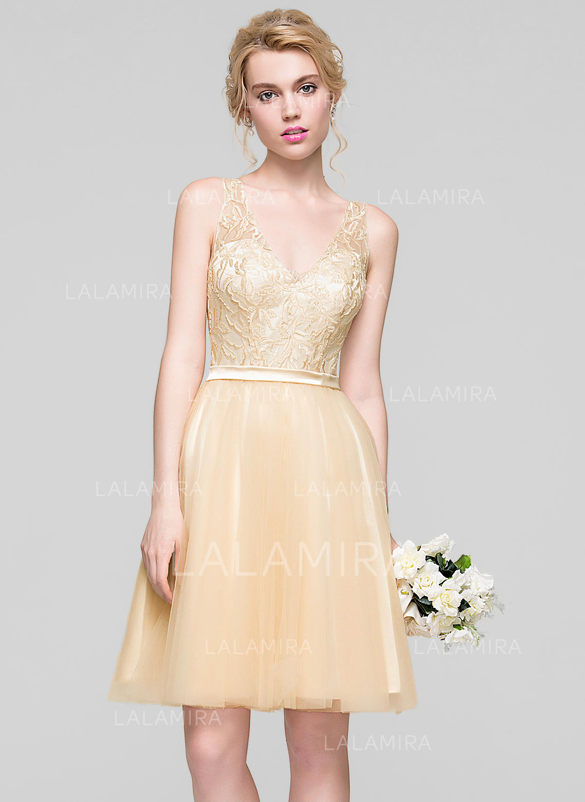 f0923f5280 Delicate Tulle Homecoming Dresses A-Line Princess Knee-Length V-neck  Sleeveless. Loading zoom