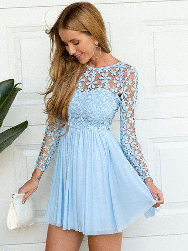 9750a5dfd96 A-Line Princess Chiffon Cocktail Dresses Lace Scoop Neck Long Sleeves Short  Mini. Loading zoom