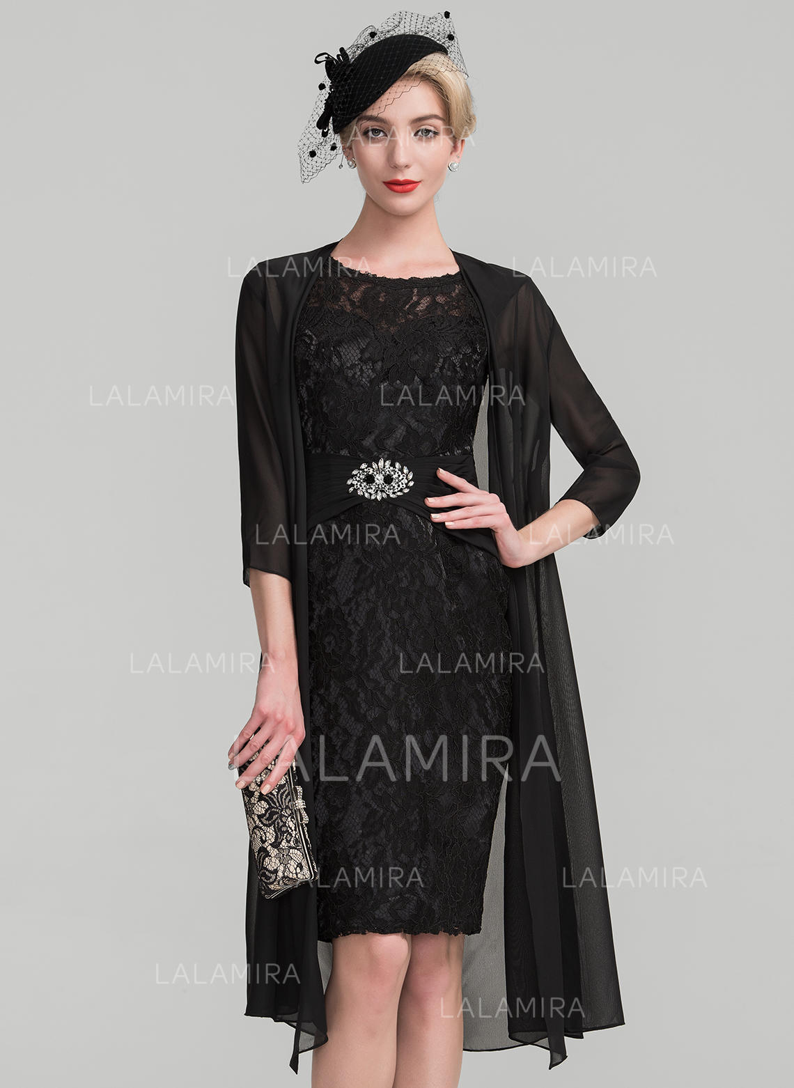 0515fe8e2a4c0 Sheath/Column Scoop Neck Knee-Length Lace Mother of the Bride Dress With  Ruffle. Loading zoom