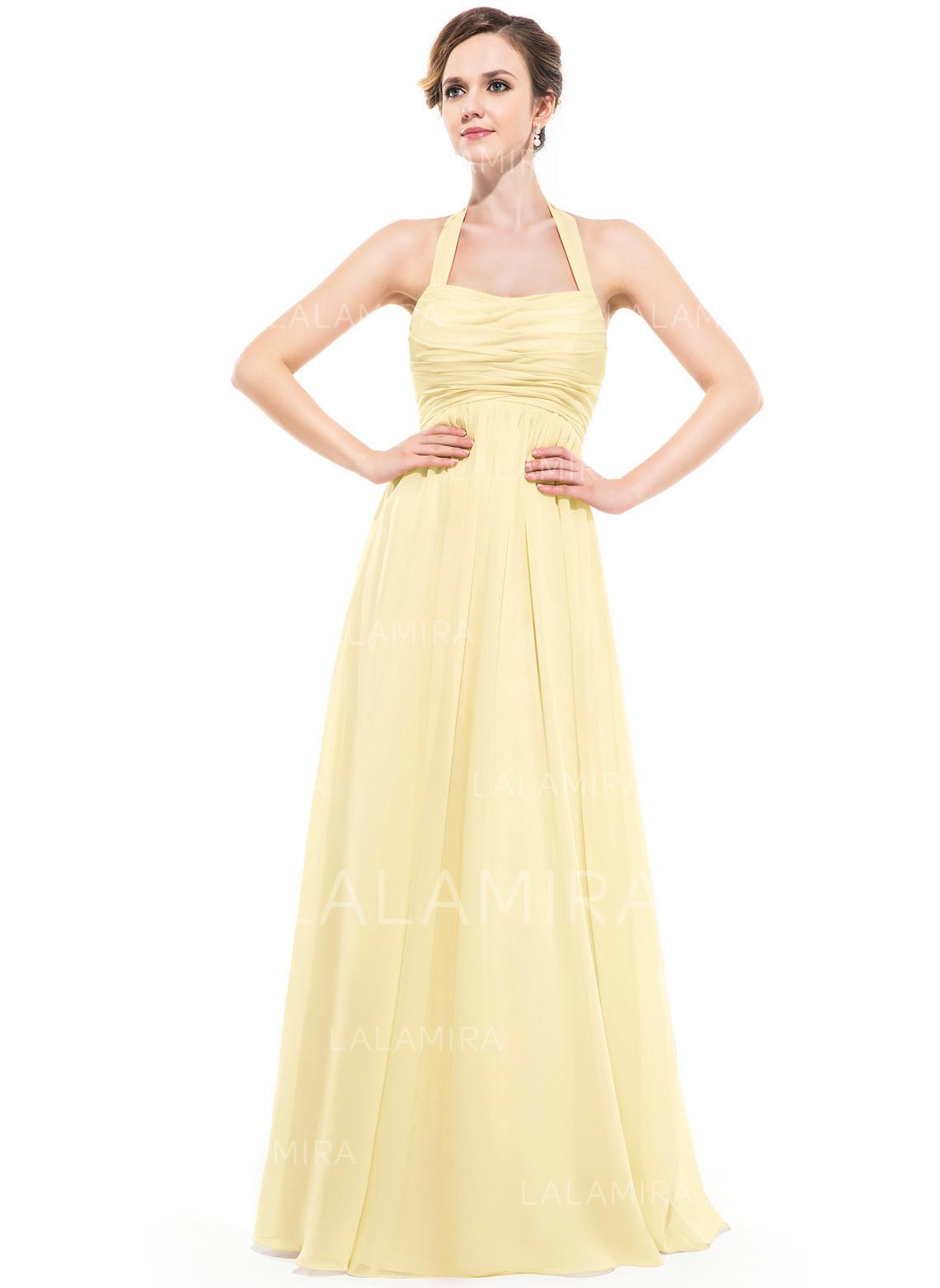 fc9cfa60acb4 Empire Chiffon Bridesmaid Dresses Ruffle Halter Sleeveless Floor-Length  (007063000). Loading zoom