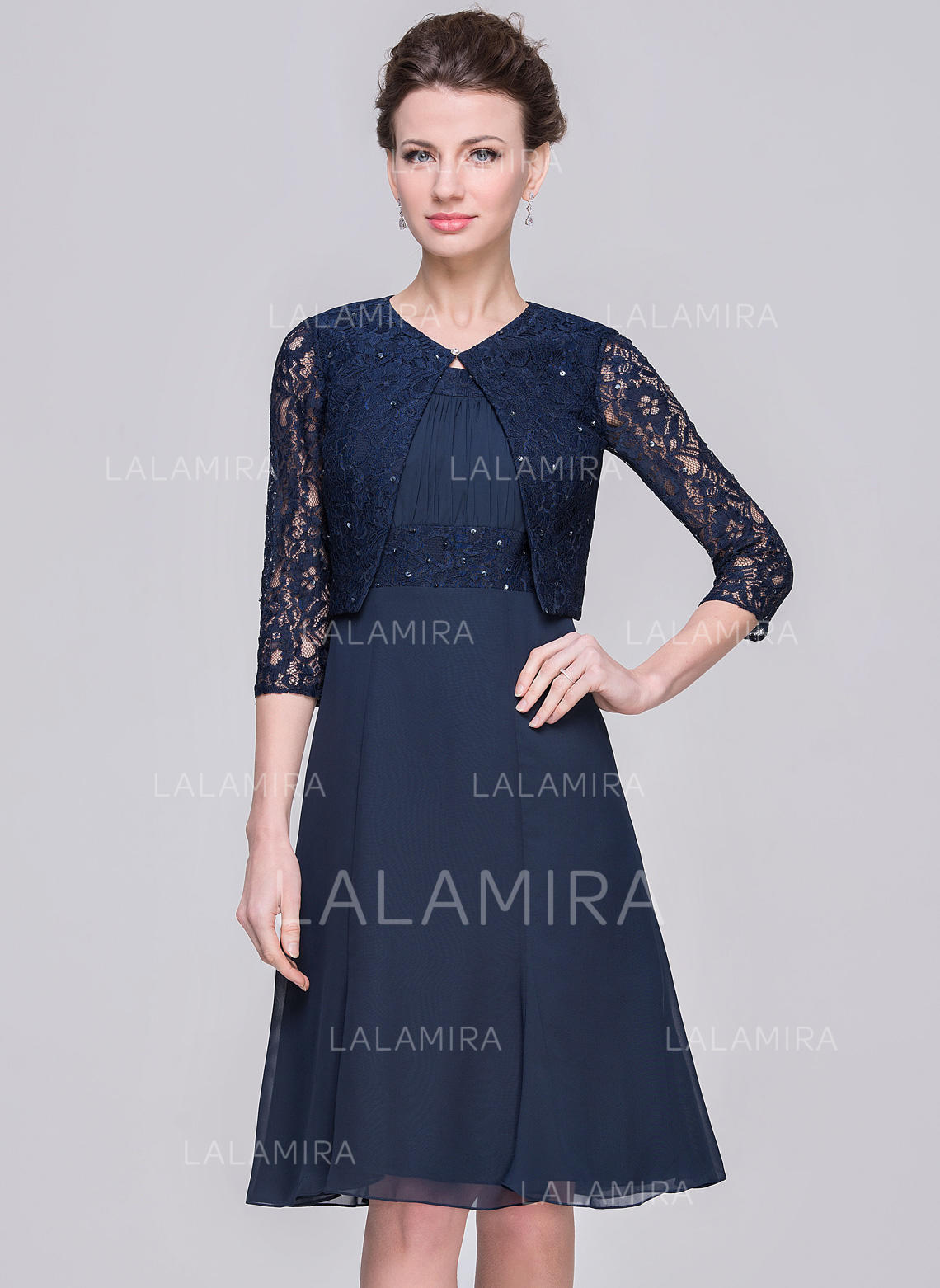 A-Linie/Princess-Linie U-Ausschnitt Knielang Chiffon Kleid für die ...