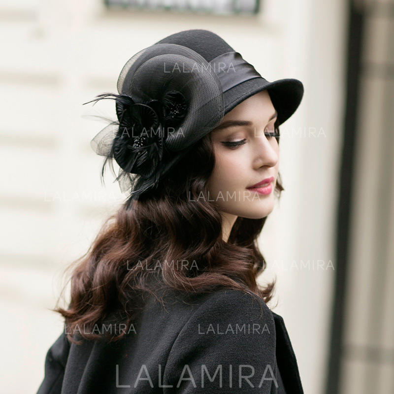 d25c31bdc0537 Wool With Feather Tulle Bowler Cloche Hat Gorgeous Elegant Ladies  Hats (.  Loading zoom