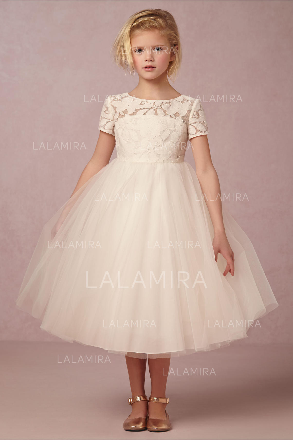 Ball Gown Scoop Neck Knee Length With Laceback Hole Tullelace