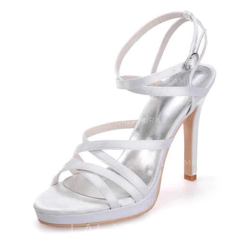 c773500257d Women s Peep Toe Platform Sandals Stiletto Heel Satin With Buckle Wedding  Shoes (047205061). Loading zoom