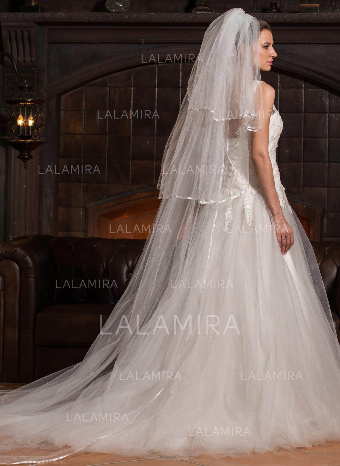 02a259e3a7 Cathedral Bridal Veils Tulle Three-tier Drop Veil Cascade With Ribbon Edge  Wedding Veils. Loading zoom