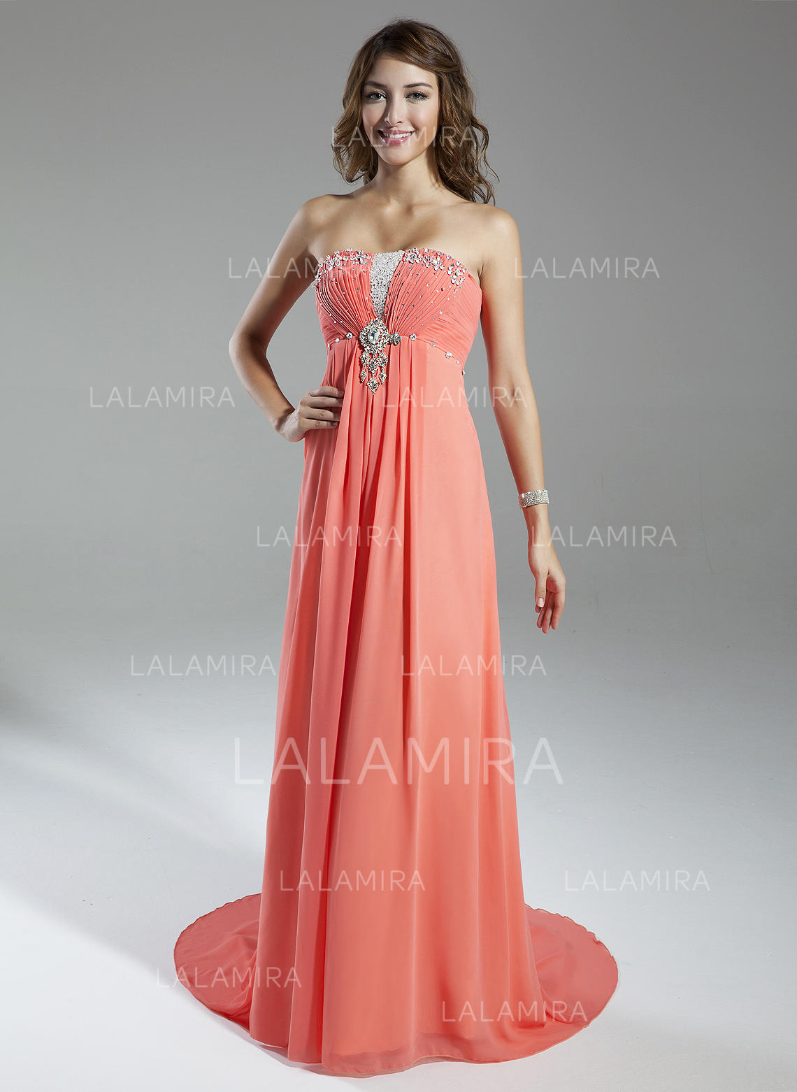 18b112a2575d Empire Chiffon Prom Dresses Beautiful Watteau Train Sweetheart Sleeveless  (018135236). Loading zoom