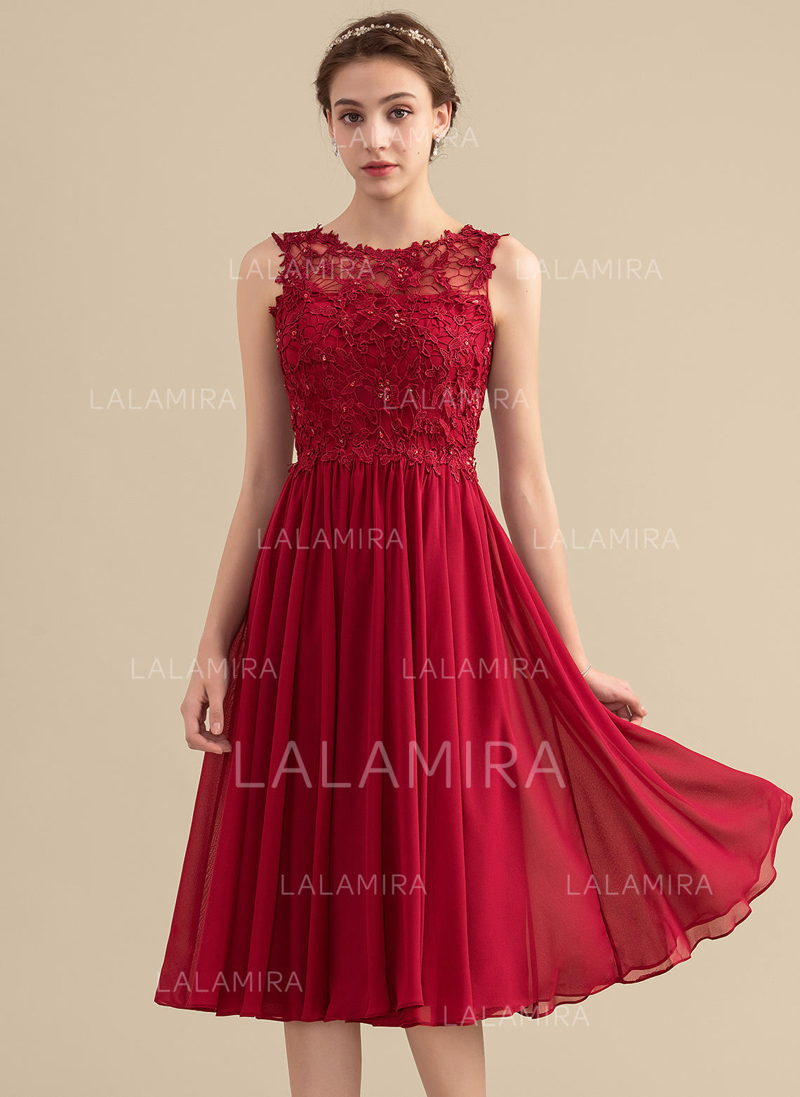 6b0330af2d69 A-Line/Princess Scoop Neck Knee-Length Chiffon Lace Cocktail Dress With  Beading. Loading zoom