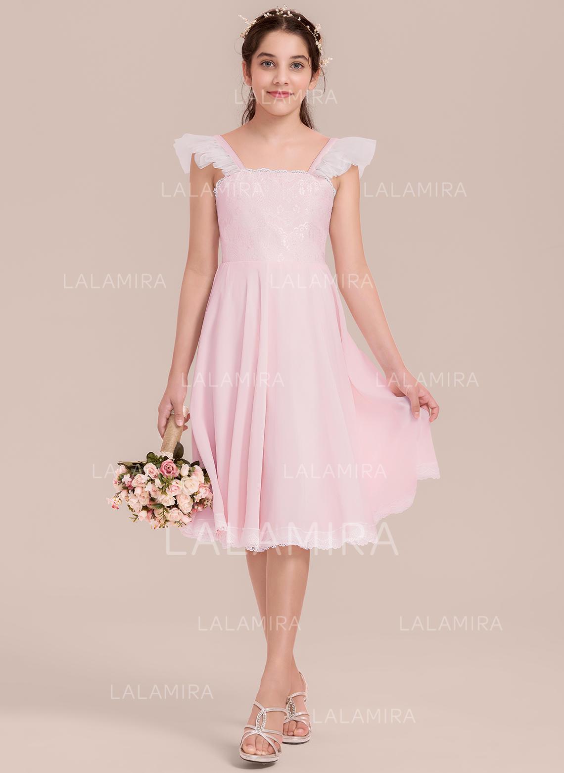cd595ab9ebb A-Line Princess Knee-length Flower Girl Dress - Chiffon Tulle . Loading zoom