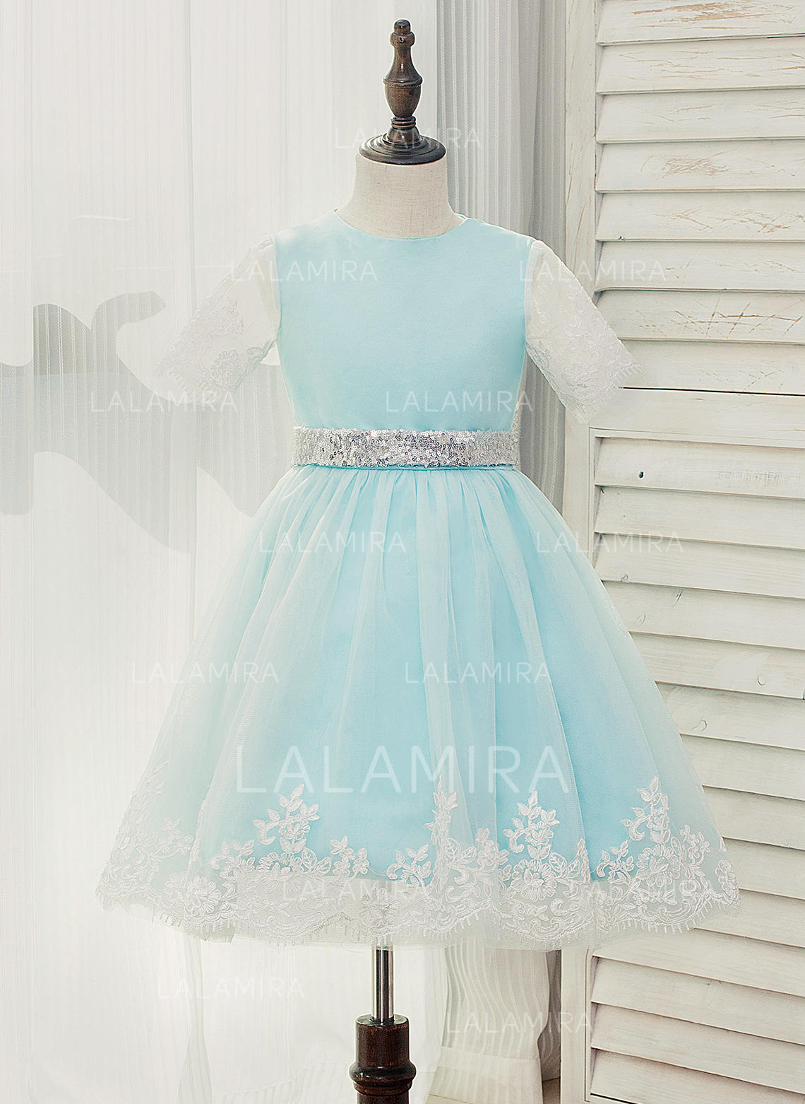 dd27b98dcce A-Line Princess Knee-length Flower Girl Dress - Tulle Lace Sleeveless. Loading  zoom