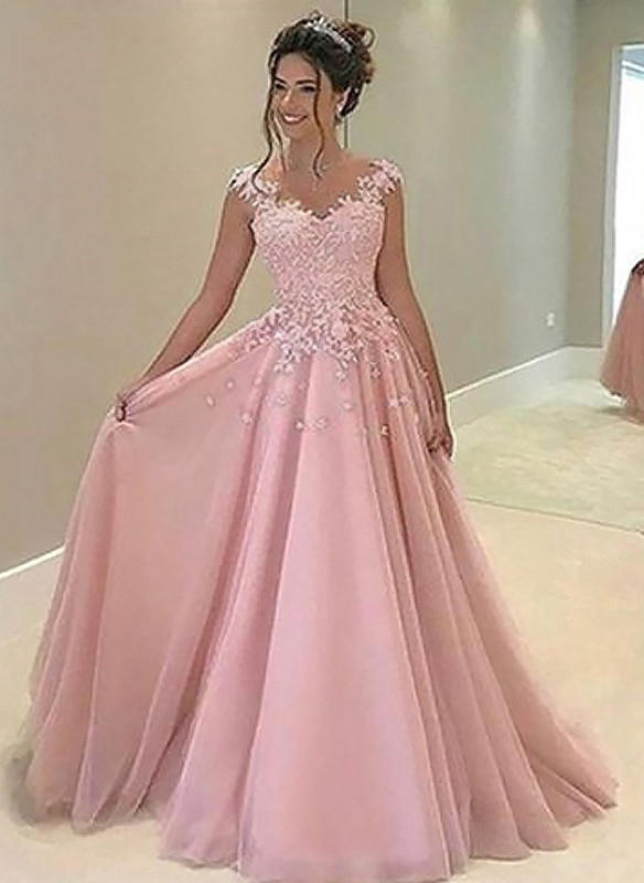 A Line Princess Tulle Prom Dresses Chic Floor Length