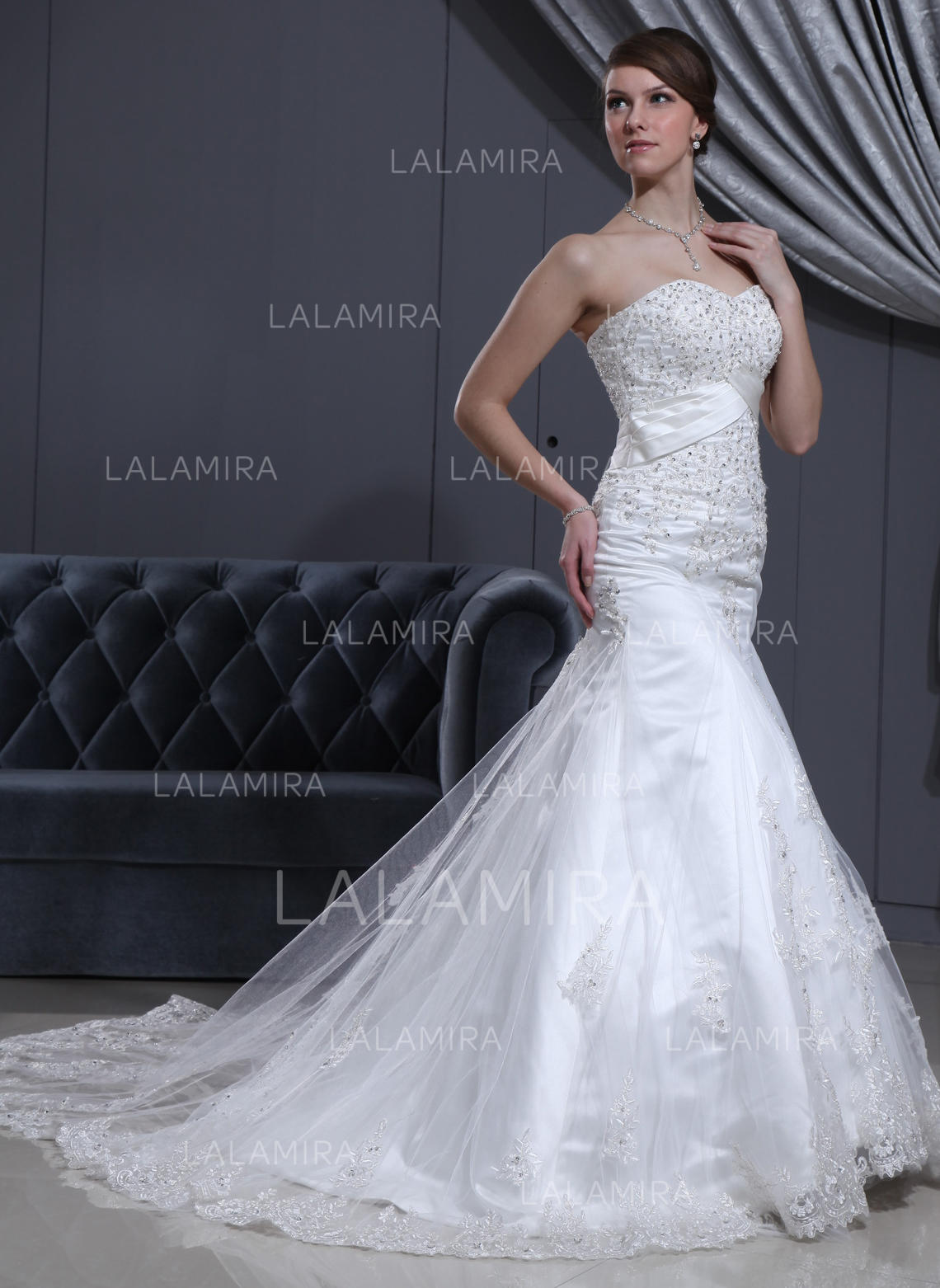 trumpet/mermaid lace beading tulle cathedral train three-dimensional wedding dresses