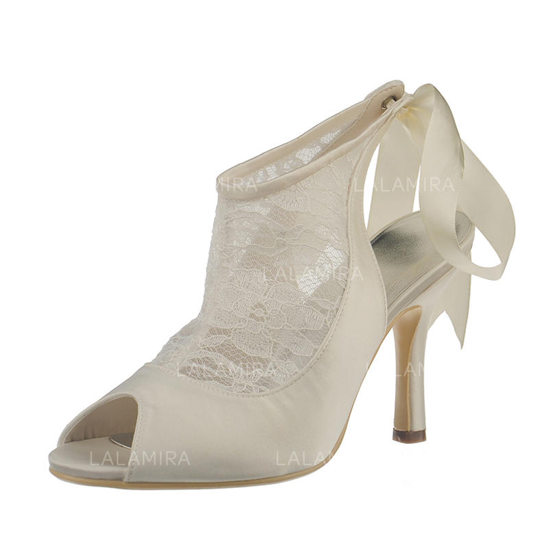 3eec69029 Mulheres Renda Cetim Salto agulha Peep toe Sandálias Sapatos abertos  (047092807). Loading zoom. Carregando
