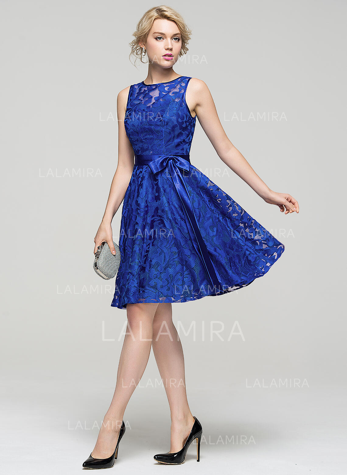 a5a3cb8c8d0 A-Line Princess Knee-Length Homecoming Dresses Scoop Neck Lace Sleeveless  (022214085. Loading zoom