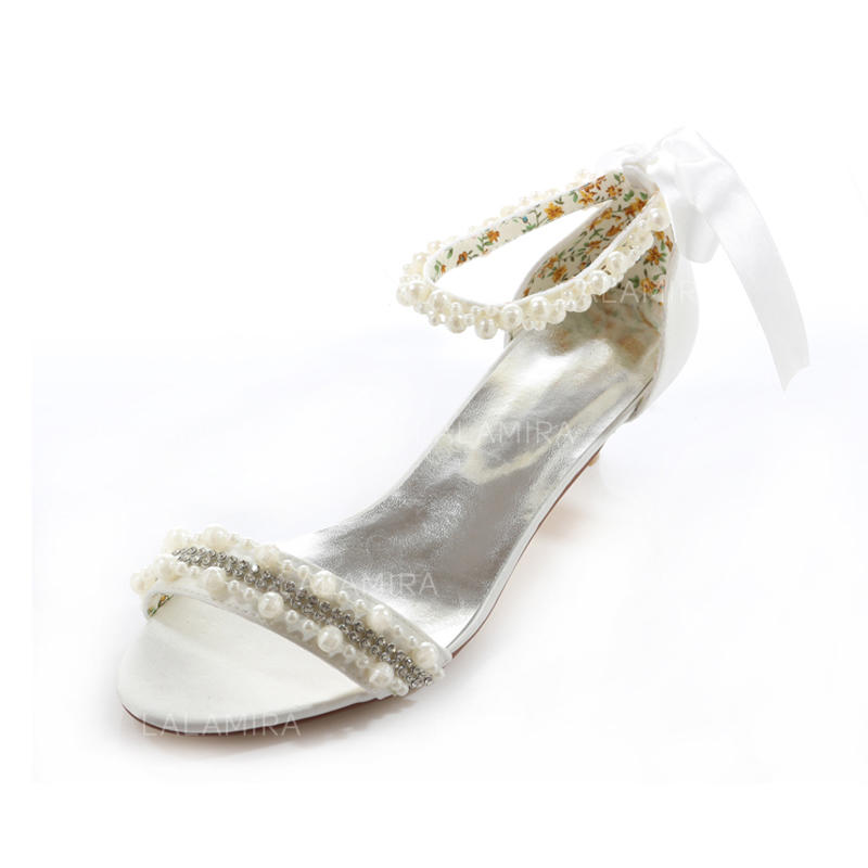 Women s Peep Toe Sandals Low Heel Satin With Imitation Pearl Wedding Shoes  (047205653). Loading zoom f10ed48815