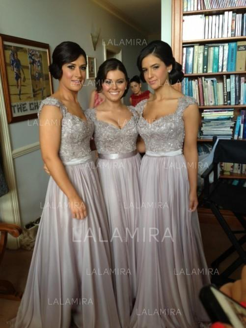 35d77f333c A-Line/Princess Chiffon Lace Bridesmaid Dresses Beading Sequins Sweetheart  Sleeveless Floor-Length. Loading zoom