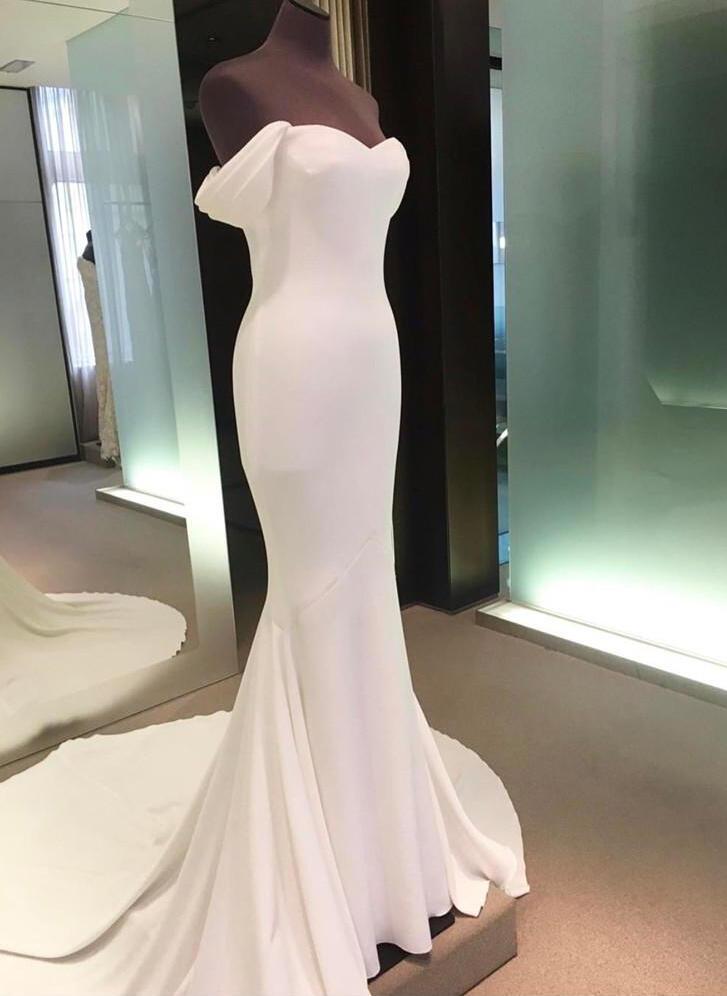 32479ab9cf Off-The-Shoulder Sheath Column Wedding Dresses Stretch Crepe Sleeveless  Court Train (. Loading zoom