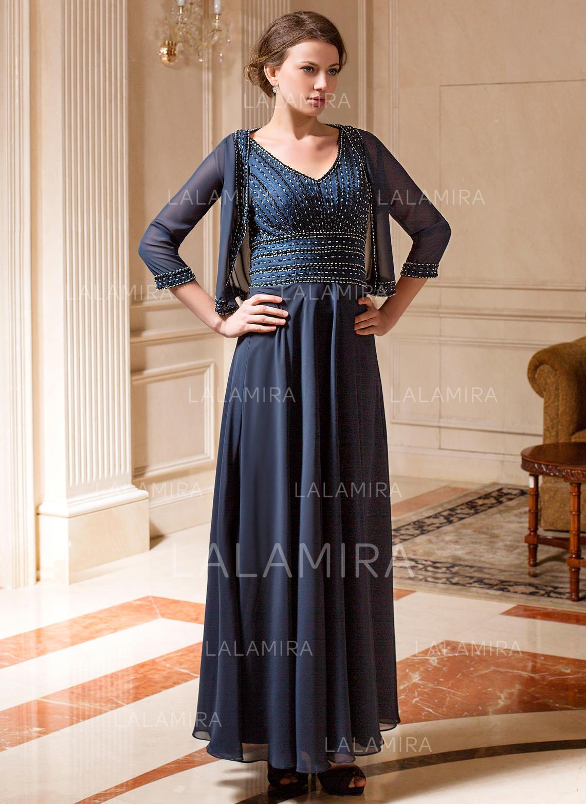 a-linie/princess-linie chiffon Ärmellos v-ausschnitt knöchellang seitlicher  reißverschluss kleider für die brautmutter (008213164)