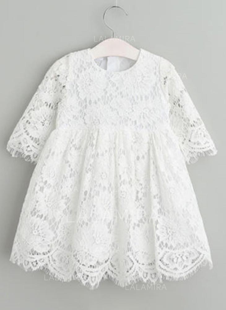 17945d2f5 Encaje Escote redondo Vestidos de bautizo para bebés con Mangas 3 4  (2001216823). Loading zoom. Cargando